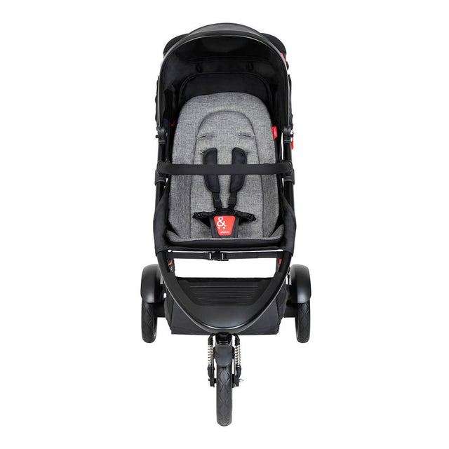 phil&teds dot buggy with charcoal liner front view_charcoal