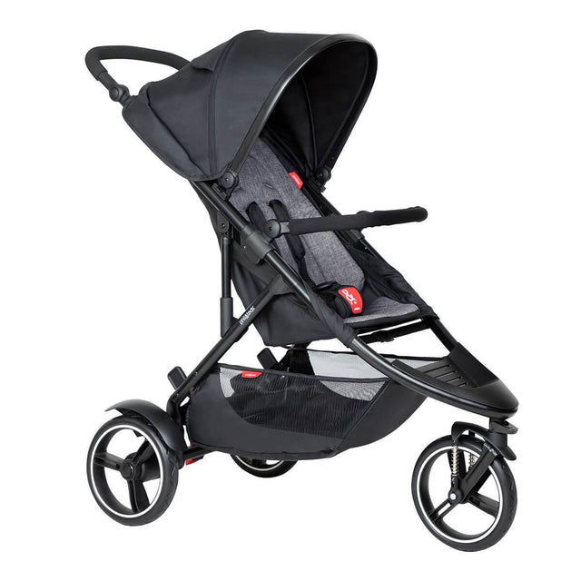 phil&teds dot inline buggy in charcoal grey colour 3/4 view_charcoal