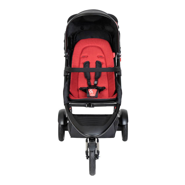 phil&teds dot buggy with chilli liner front view_chilli