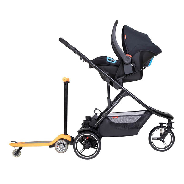 phil&teds dot inline buggy with alpha car seat and freerider stroller board