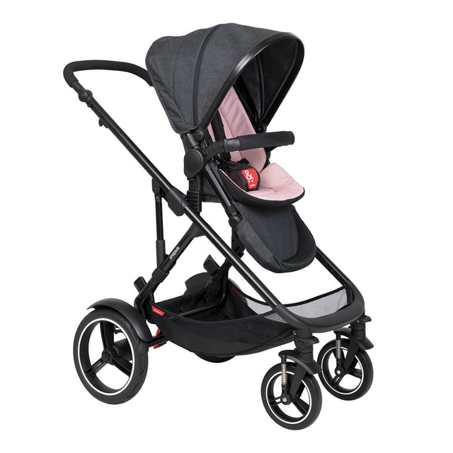 philandteds inline modular inline buggy in blush pink with seat in forward facing position 3qtr view_blush