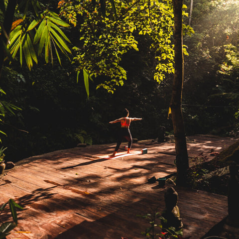 Image of nature yoga on our yoga deck by the river, surrounded by green nature, with one yogi in warrior asana.