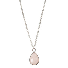 Load image into Gallery viewer, Charmed in Love Drop Rose Quartz | Sterling Silver Necklace