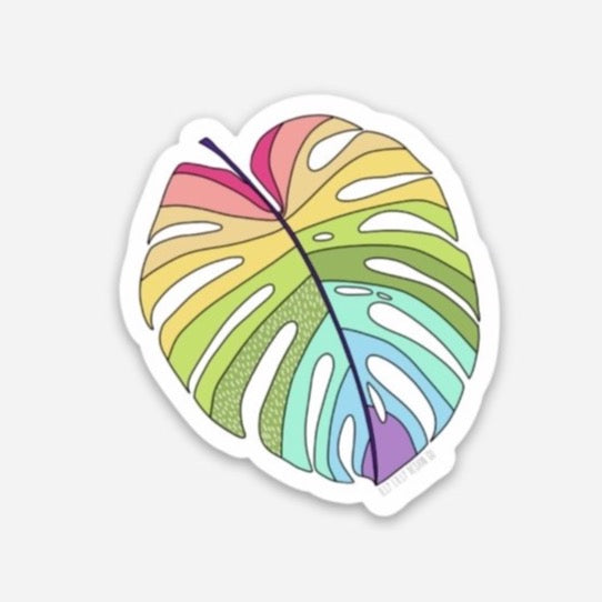 Rainbow Monstera Sticker