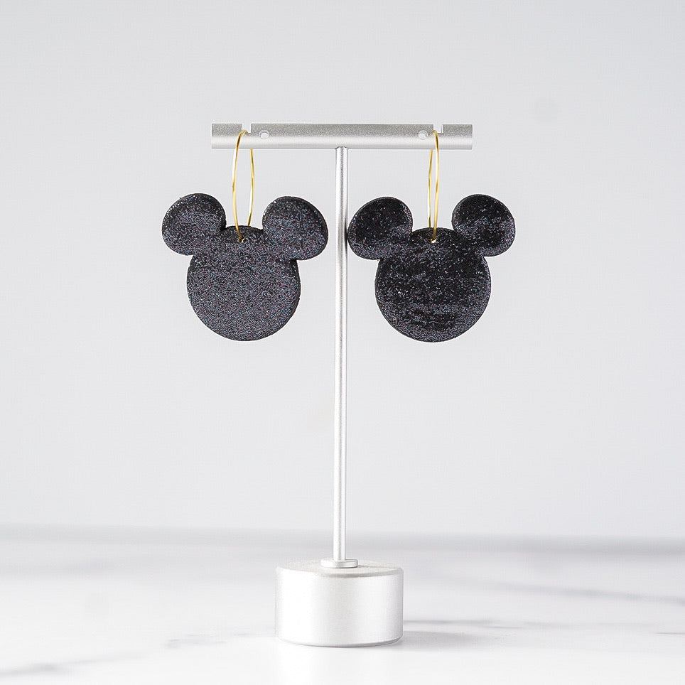 Black Holo Mouse Earrings