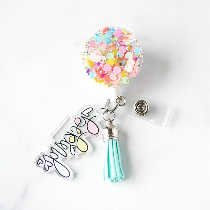 Resin Confetti Badge Reel With Mint Tassel