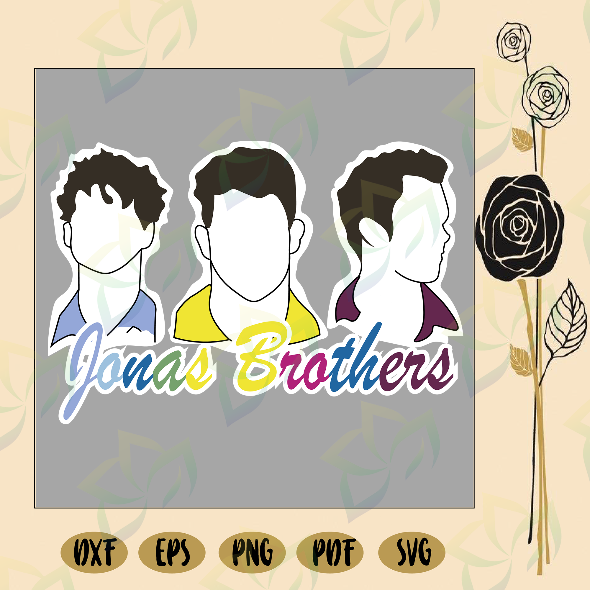 Jonas Brothers 3 coloring page | 2000x2000