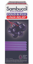 Load image into Gallery viewer, Sambucol Cold & Flu Pain Relief 120ml