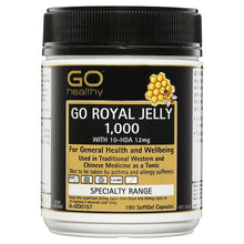 Load image into Gallery viewer, GO Healthy Royal Jelly 1000mg 10 HDA 12mg 180 Capsules
