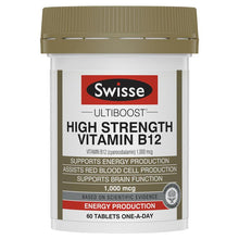 Load image into Gallery viewer, SWISSE Ultiboost High Strength Vitamin B12 60 Tablets