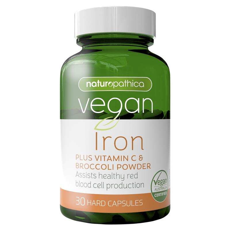 Naturopathica Vegan Iron Plus Vitamin C & Broccoli Powder 30 Capsules