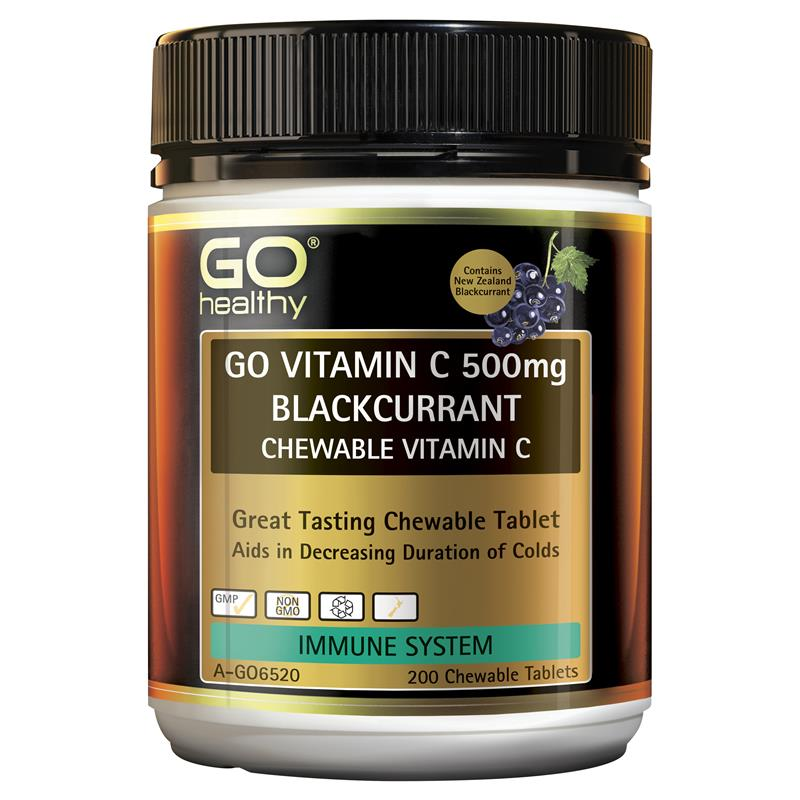 GO Healthy Vitamin C 500mg Blackcurrant 200 Chewable Tablets