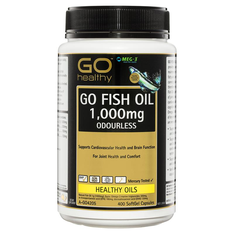 GO Healthy Fish Oil 1000mg Odourless 400 Softgel Capsules