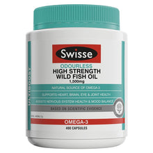 Load image into Gallery viewer, SWISSE Ultiboost Odourless High Strength Wild Fish Oil 1500mg 400 Capsules