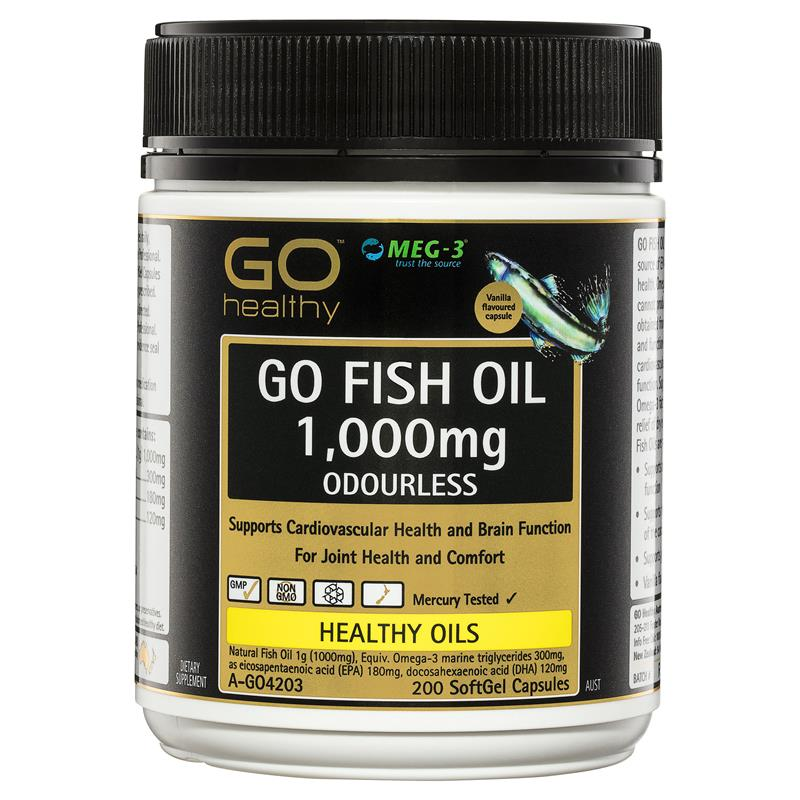 GO Healthy Fish Oil 1000mg Odourless 200 Softgel Capsules