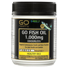 Load image into Gallery viewer, GO Healthy Fish Oil 1000mg Odourless 200 Softgel Capsules