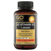 Load image into Gallery viewer, GO Healthy Vitamin D3 1000IU 150 Softgel Capsules