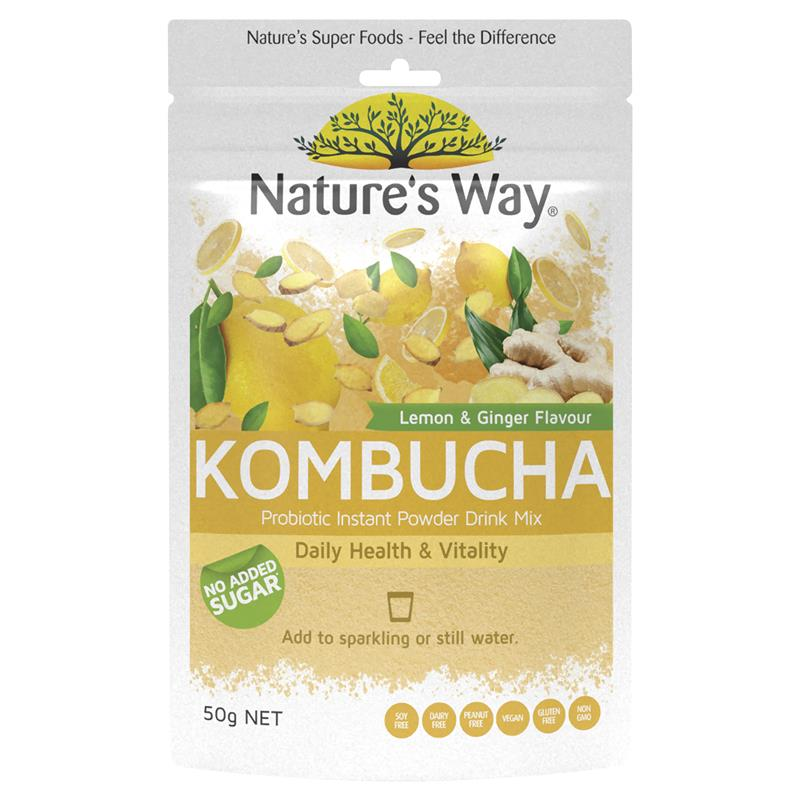 Nature's Way Lemon & Ginger Flavour Kombucha Probiotic Powder Drink Mix 50g
