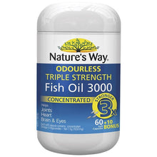 Load image into Gallery viewer, Nature's Way Advanced Omega Triple Strength Fish Oil 60 + 10 Capsules