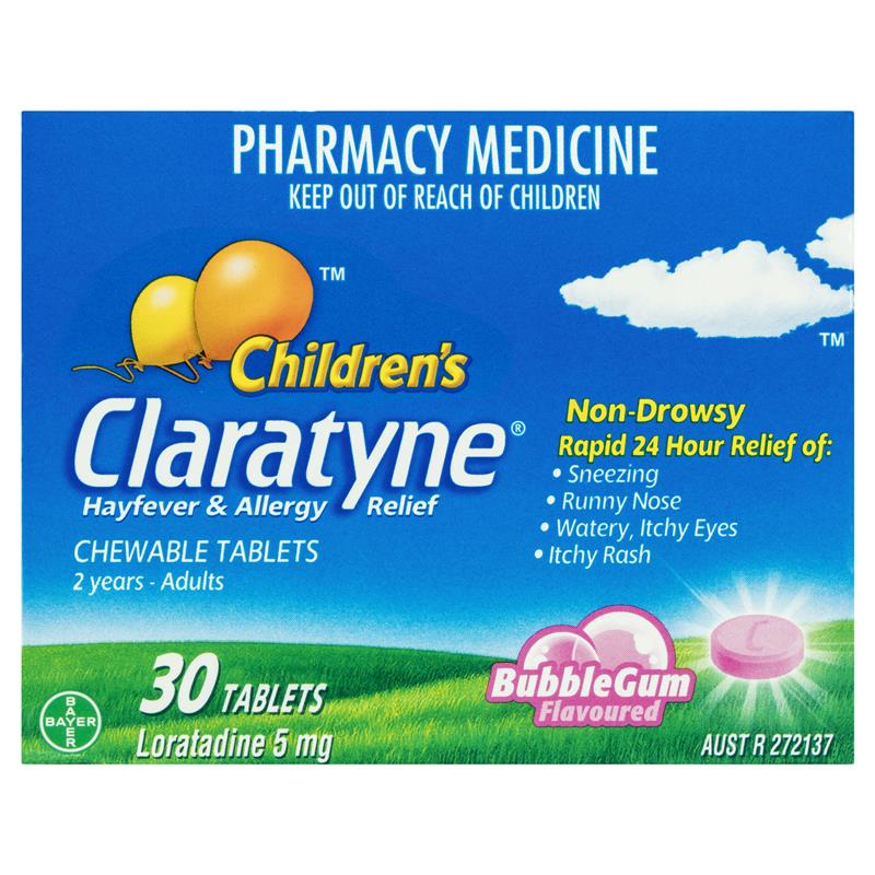 Claratyne Children's Hayfever & Allergy Relief Antihistamine Bubblegum Flavoured 30 Chewable Tablets (Limit of ONE per Order)
