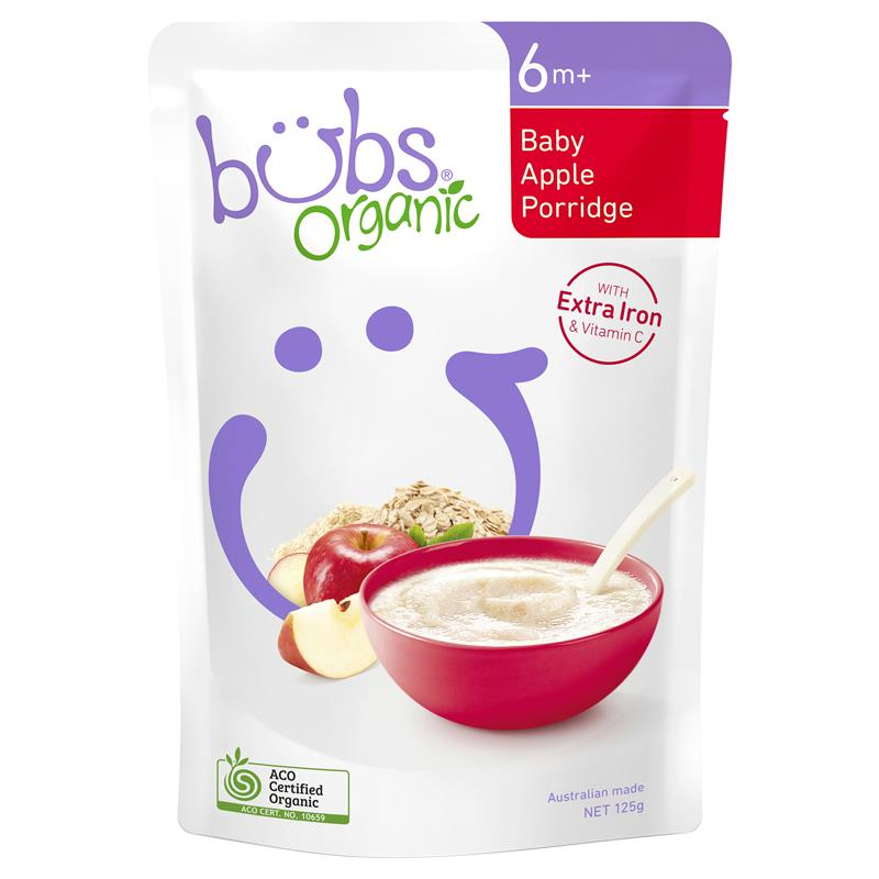 Bubs Organic Baby Apple Porridge 125g