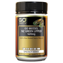 Load image into Gallery viewer, GO Healthy GO Mussel NZ Green Lipped Mussel 520mg 180 Capsules