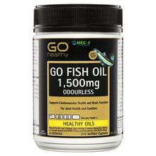 Load image into Gallery viewer, GO Healthy Fish Oil 1500mg Odourless 210 Capsules