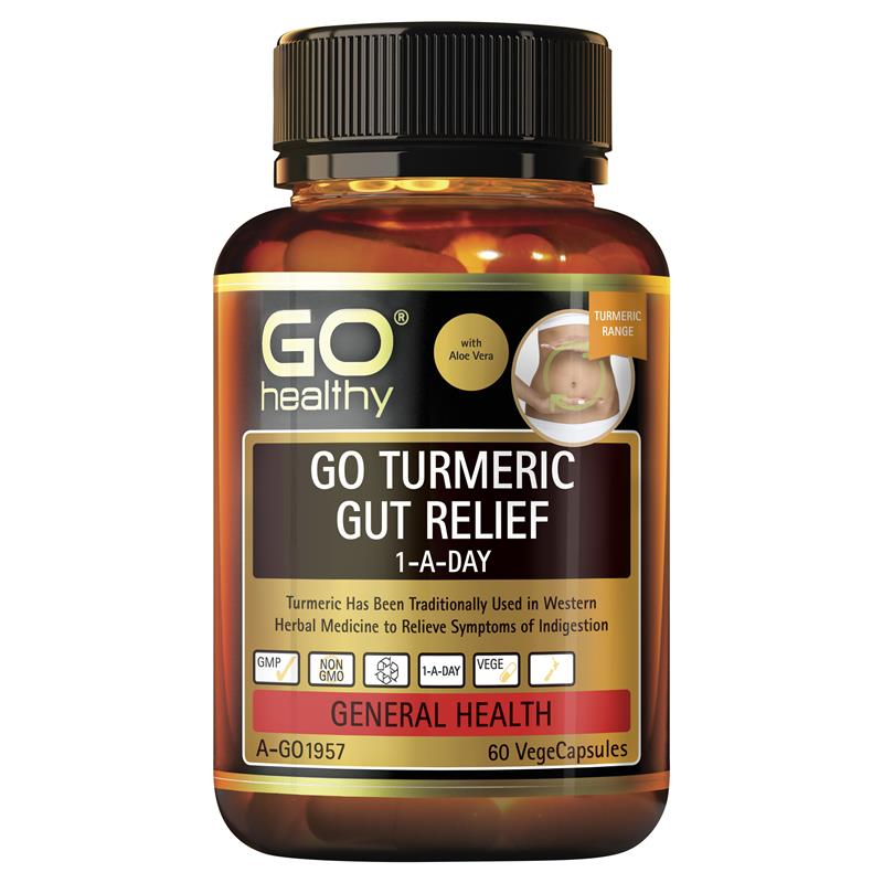GO Healthy Turmeric Gut Relief 1 A Day 60 Vege Capsules