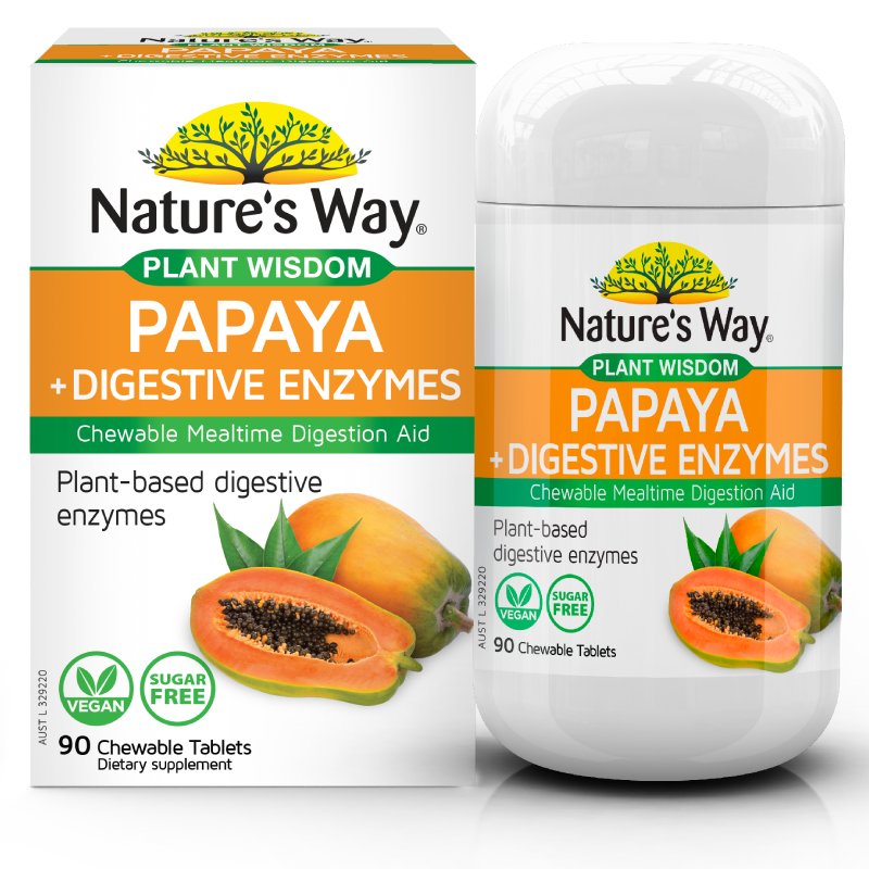 Nature's Way PLANT WISDOM PAPAYA +DIGESTIVE ENZYME CHEWABLE TABLETS 90S