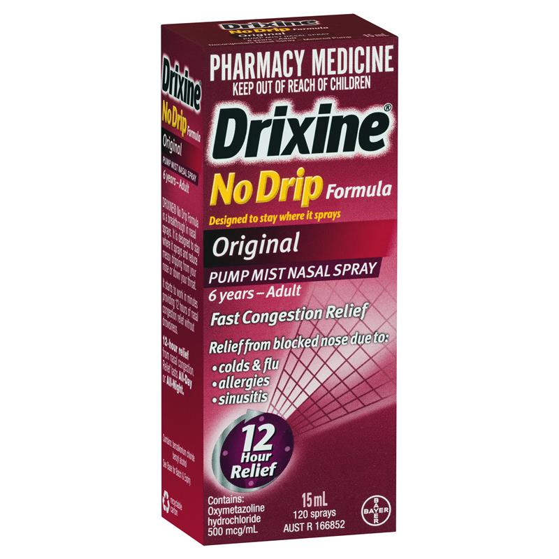 Drixine No Drip Formula Pump Mist Nasal Spray 15ml (Limit of ONE per Order)