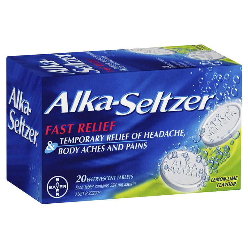 Alka Seltzer Lemon-Lime Effervescent tablets 20 Pack
