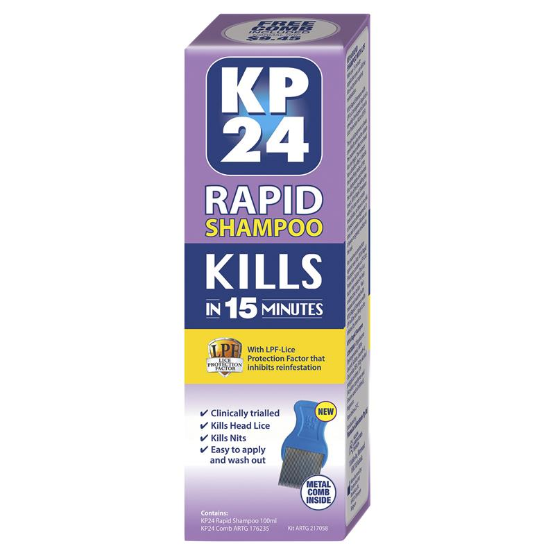 KP24 Rapid 15 Minute Head Lice/Nit Shampoo with Lice Protection Factor 100ml with Comb