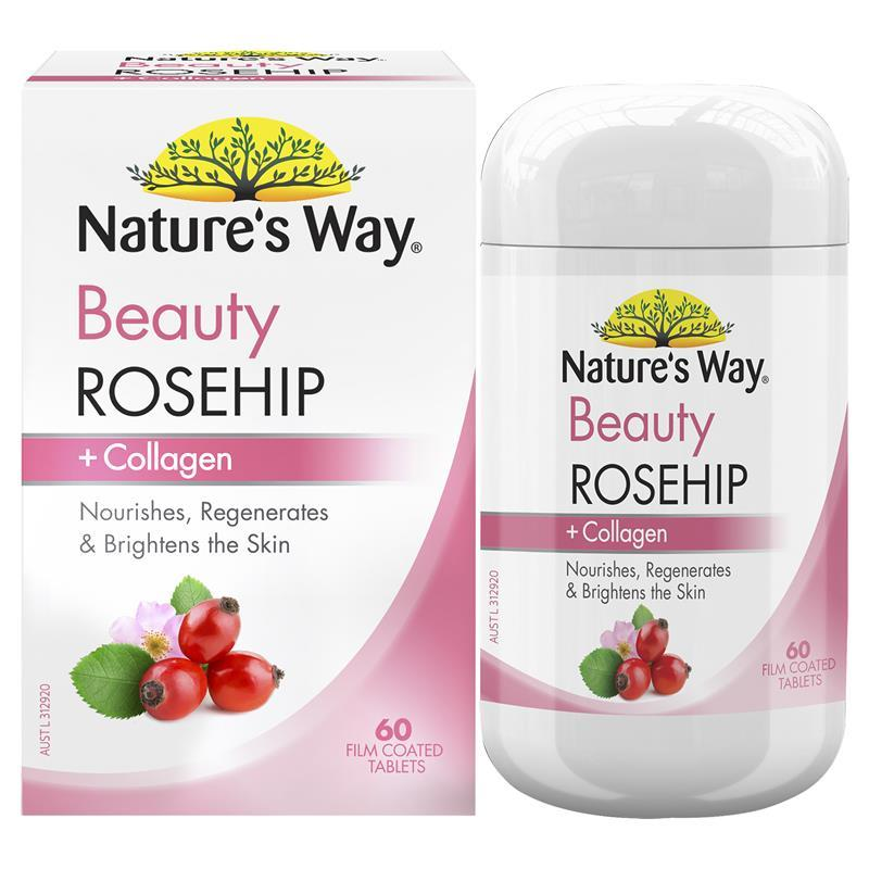 Nature's Way Beauty Rosehip + Collagen 60 Tablets