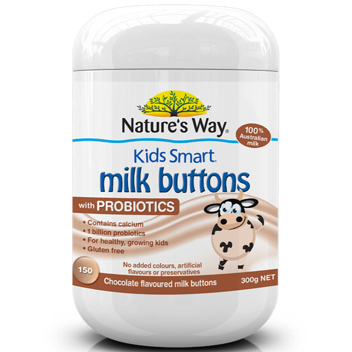 Nature's Way Kids Smart Milk Buttons with Probiotics Chocolate 150 Chewable Buttons