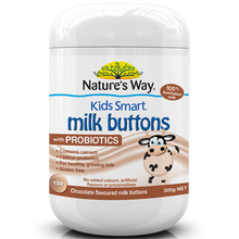 Load image into Gallery viewer, Nature's Way Kids Smart Milk Buttons with Probiotics Chocolate 150 Chewable Buttons ( Expiry 08/2021 )