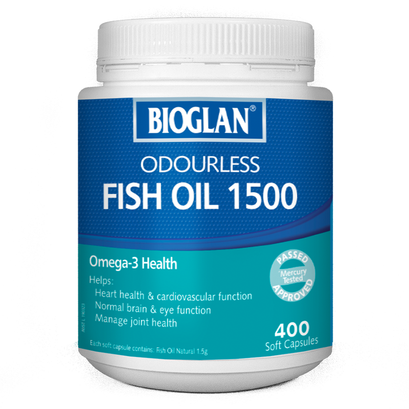 Bioglan Odourless Fish Oil 1500mg 400 Soft Capsules