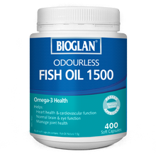Load image into Gallery viewer, Bioglan Odourless Fish Oil 1500mg 400 Soft Capsules
