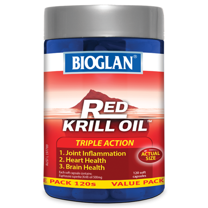 Bioglan Red Krill Oil Triple Action 500mg 120 Soft Capsules
