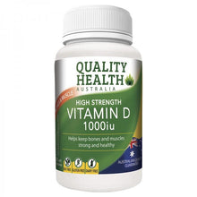 Load image into Gallery viewer, Quality Health High Strength Vitamin D 1000iu 60 Capsules