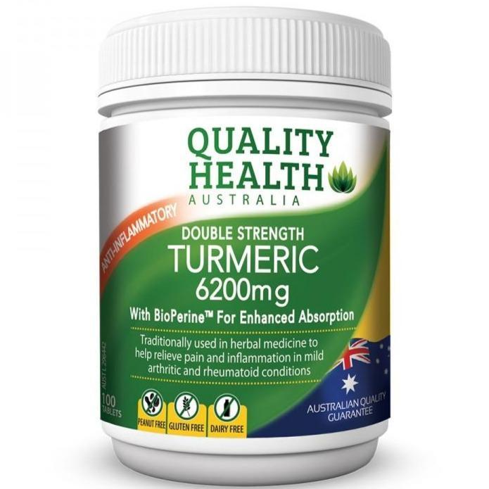Quality Health Double Strength Turmeric 6200mg 100 Capsules