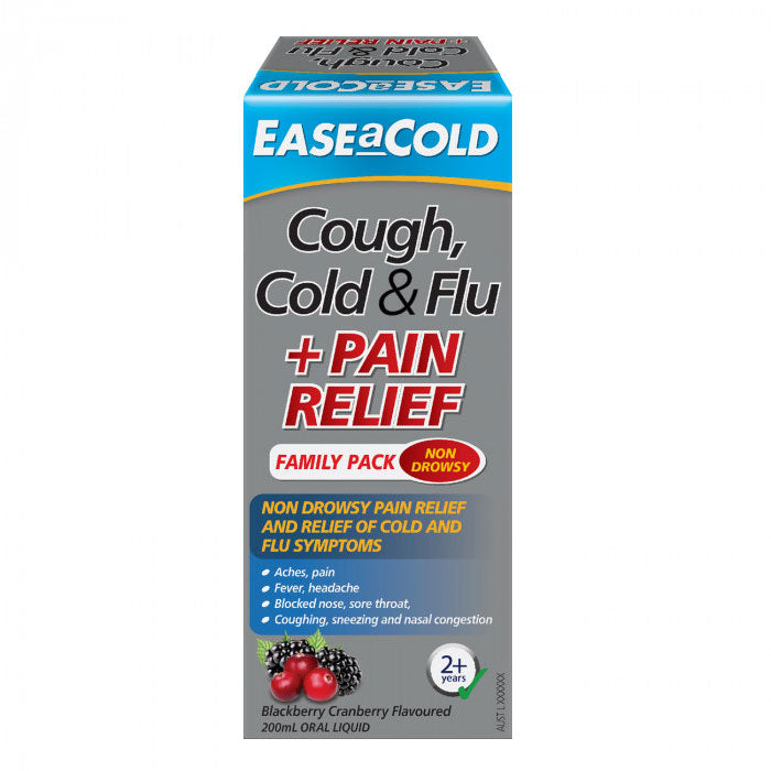 Ease a Cold Cough Cold & Flu + Pain Relief 200mL