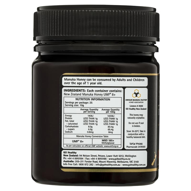 GO Healthy Manuka Honey UMF 8+ (MGO Healthy 185+) 250gm