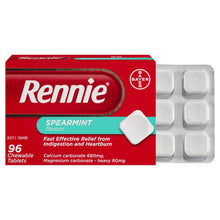 Load image into Gallery viewer, Rennie Indigestion and Heartburn Relief Spearmint 96 Chewable Tablets