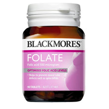 Load image into Gallery viewer, Blackmores Folate 500mcg 90 Tablets