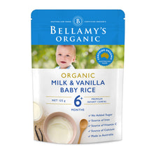 Load image into Gallery viewer, Bellamy's Organic Milk & Vanilla Baby Rice Cereal 6+ Months 125g ( exp 6/21 )