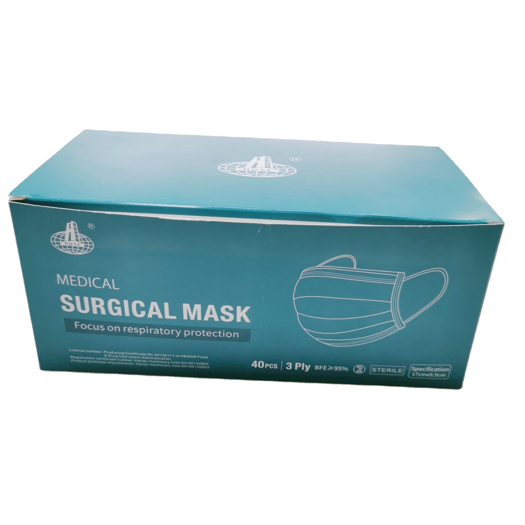 HDTF Medical Surgical Disposable Face Masks 3 Ply 40 PCs Box