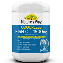 Load image into Gallery viewer, Nature's Way Odourless Fish Oil 1500mg 200 Capsules