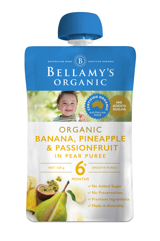 Bellamy's Organic Exotic Fruits Banana, Pineapple & Passionfruit in Pear Puree 6+ Months 120g
