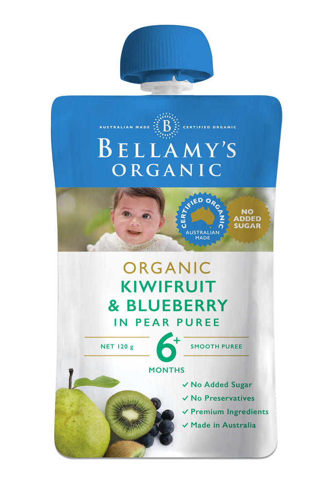 Bellamy's Organic Exotic Fruits Kiwifruit & Blueberry In Pear Puree 6+ Months 120g