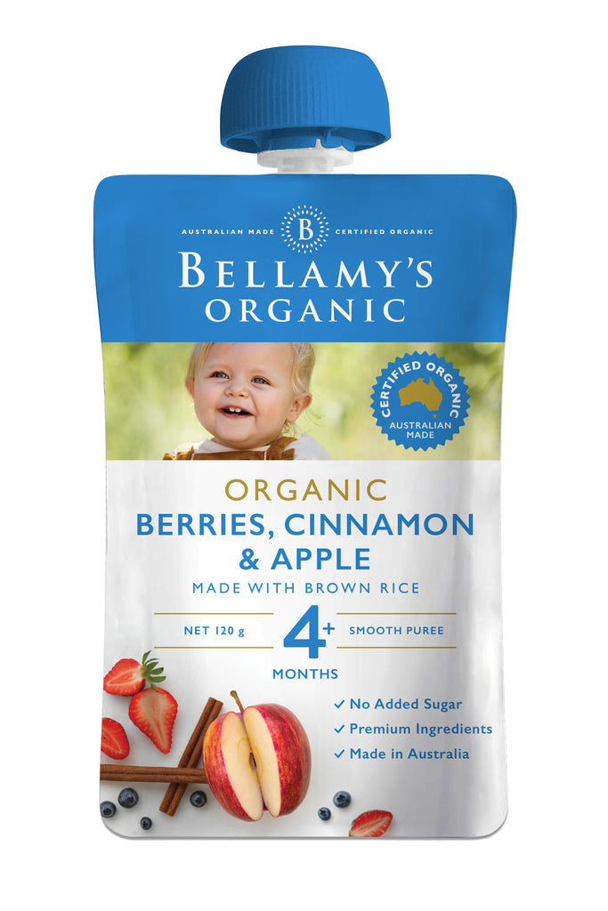 Bellamy's Organic Berries, Cinnamon & Apple 4+ Months 120g